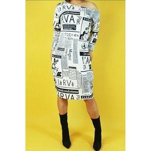 Contemporary Newspaper Print Dress Size Medium